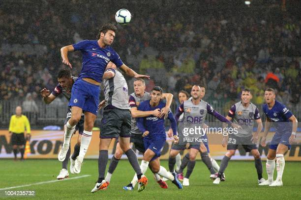 Marcos Alonso of Chelsea heads the ball during the international friendly between Chelsea FC and Perth Glory at Optus Stadium on July 23 2018 in...