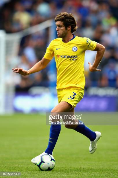 Marcos Alonso of Chelsea in action during the Premier League match between Huddersfield Town and Chelsea FC at John Smith's Stadium on August 11 2018...