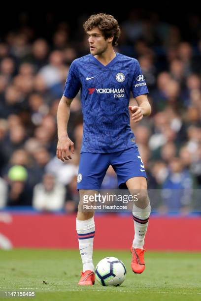 Marcos Alonso of Chelsea in action during the Premier League match between Chelsea FC and Watford FC at Stamford Bridge on May 05 2019 in London...