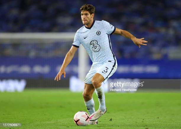 Marcos Alonso of Chelsea in action during the Premier League match between Brighton & Hove Albion and Chelsea at American Express Community Stadium...