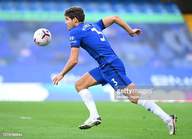 Marcos Alonso of Chelsea in action during the Premier League match between Chelsea and Liverpool at Stamford Bridge on September 20, 2020 in London,...
