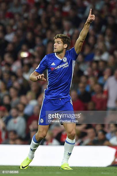 Marcos Alonso of Chelsea in action during the Premier League match between Arsenal and Chelsea at the Emirates Stadium on September 24 2016 in London...