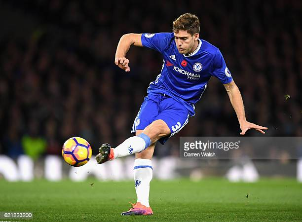 Marcos Alonso of Chelsea in action during the Premier League match between Chelsea and Everton at Stamford Bridge on November 5 2016 in London England