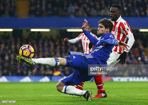 Marcos Alonso of Chelsea in action during the Premier League match between Chelsea and Stoke City at Stamford Bridge on December 31 2016 in London...