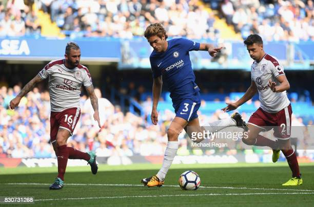 Marcos Alonso of Chelsea in action during the Premier League match between Chelsea and Burnley at Stamford Bridge on August 12 2017 in London England