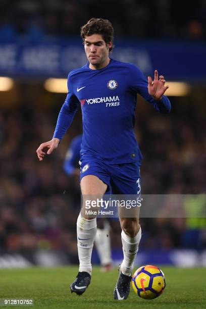 Marcos Alonso of Chelsea in action during the Premier League match between Chelsea and AFC Bournemouth at Stamford Bridge on January 31 2018 in...