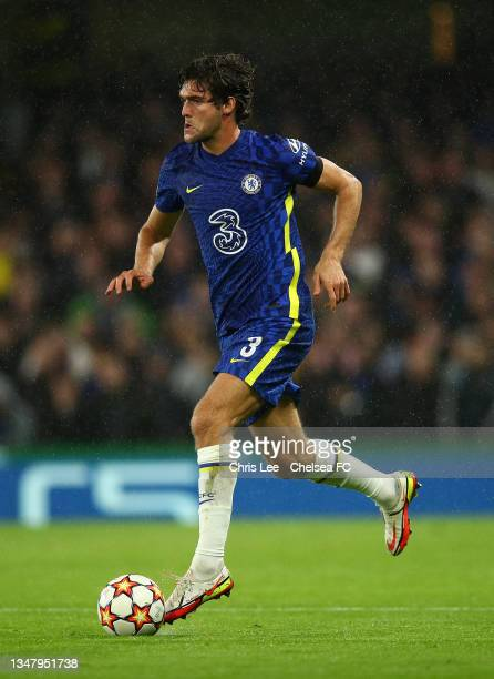 Marcos Alonso of Chelsea in action during the UEFA Champions League group H match between Chelsea FC and Malmo FF at Stamford Bridge on October 20,...