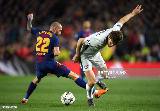 Marcos Alonso of Chelsea is challenged by Aleix Vidal of Barcelona during the UEFA Champions League Round of 16 Second Leg match FC Barcelona and...