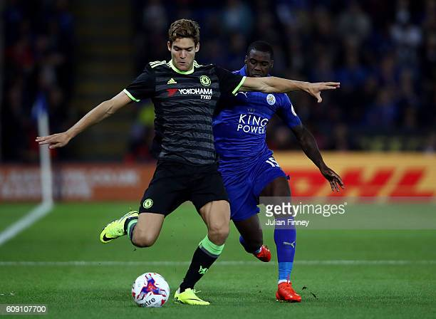 Marcos Alonso of Chelsea is closed down by Jeffrey Schlupp of Leicester City during the EFL Cup Third Round match between Leicester City and Chelsea...