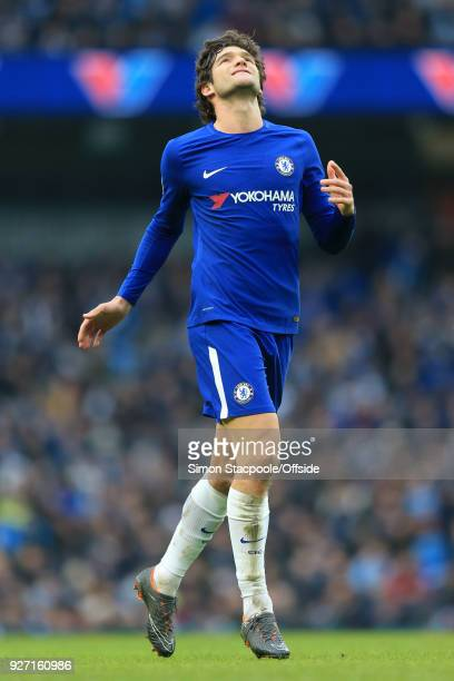 Marcos Alonso of Chelsea looks dejected during the Premier League match between Manchester City and Chelsea at the Etihad Stadium on March 4 2018 in...