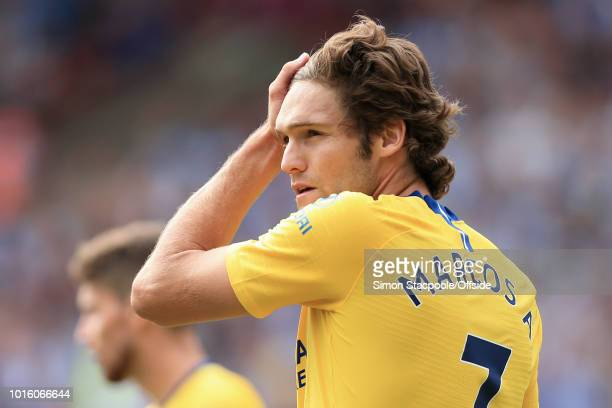Marcos Alonso of Chelsea looks on during the Premier League match between Huddersfield Town and Chelsea at the John Smith's Stadium on August 11 2018...