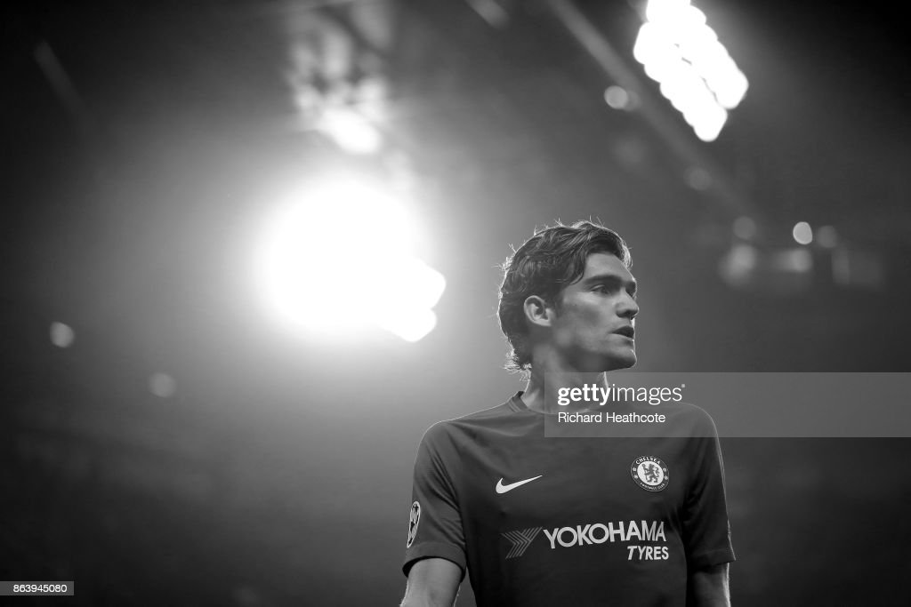 Marcos Alonso of Chelsea looks on during the UEFA Champions League group C match between Chelsea FC and AS Roma at Stamford Bridge on October 18, 2017 in London, United Kingdom.