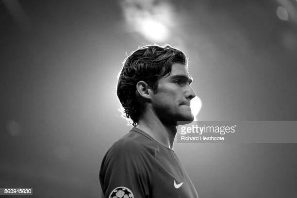 Marcos Alonso of Chelsea looks on during the UEFA Champions League group C match between Chelsea FC and AS Roma at Stamford Bridge on October 18 2017...