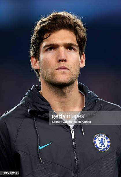 Marcos Alonso of Chelsea looks on prior to the UEFA Champions League Round of 16 Second Leg match between FC Barcelona and Chelsea FC at Camp Nou on...