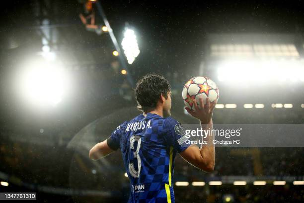 Marcos Alonso of Chelsea prepares to take a throw-in during the UEFA Champions League group H match between Chelsea FC and Malmo FF at Stamford...
