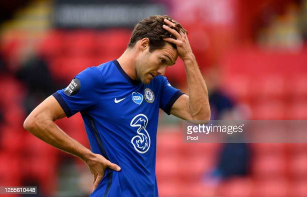 Marcos Alonso of Chelsea reacts during the Premier League match between Sheffield United and Chelsea FC at Bramall Lane on July 11, 2020 in...