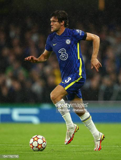 Marcos Alonso of Chelsea runs with the ball during the UEFA Champions League group H match between Chelsea FC and Malmo FF at Stamford Bridge on...