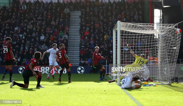 Marcos Alonso of Chelsea scores his sides first goal during the Premier League match between AFC Bournemouth and Chelsea FC at Vitality Stadium on...