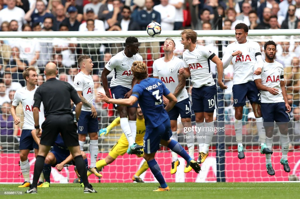 Marcos Alonso of Chelsea scores his sides first goal during the Premier League match between Tottenham Hotspur and Chelsea at Wembley Stadium on August 20, 2017 in London, England.