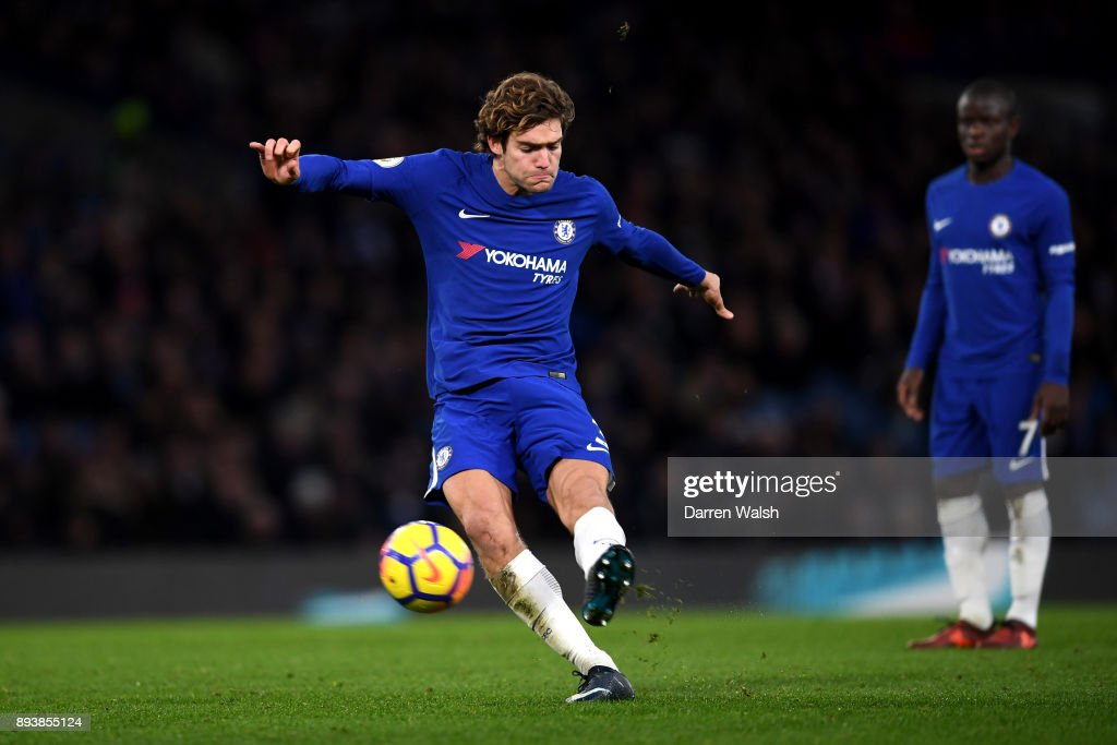 Marcos Alonso of Chelsea scores his sides first goal from a free kick during the Premier League match between Chelsea and Southampton at Stamford Bridge on December 16, 2017 in London, England.