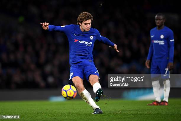 Marcos Alonso of Chelsea scores his sides first goal from a free kick during the Premier League match between Chelsea and Southampton at Stamford...