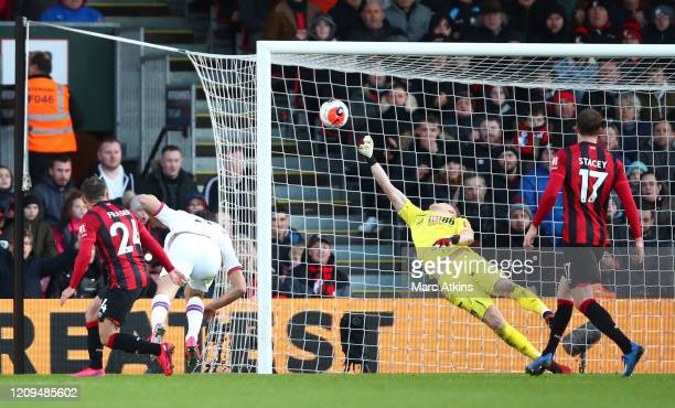 Marcos Alonso of Chelsea scores his sides second goal during the Premier League match between AFC Bournemouth and Chelsea FC at Vitality Stadium on...