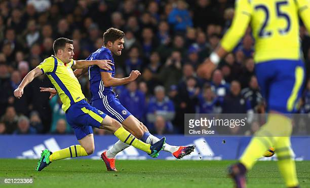 Marcos Alonso of Chelsea scores his sides second goal during the Premier League match between Chelsea and Everton at Stamford Bridge on November 5...