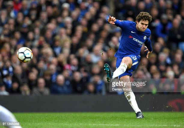 Marcos Alonso of Chelsea scores his sides third goal during The Emirates FA Cup Fourth Round match between Chelsea and Newcastle on January 28 2018...