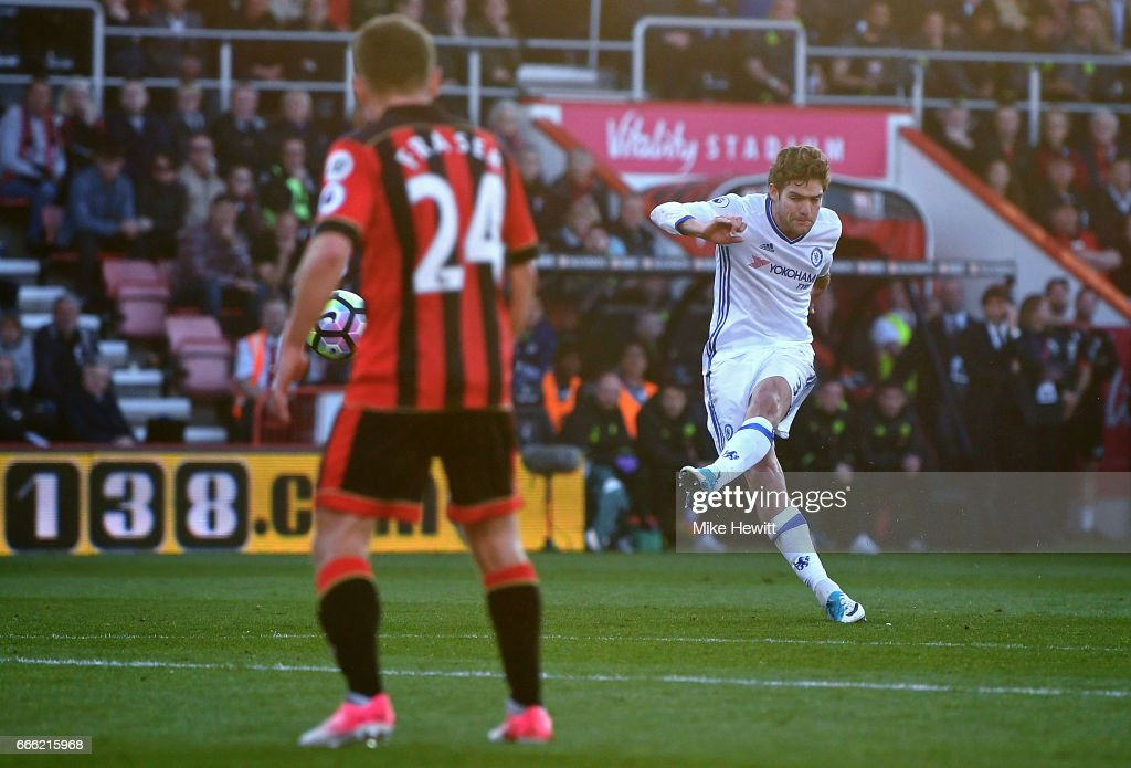 Marcos Alonso of Chelsea scores his sides third goal during the Premier League match between AFC Bournemouth and Chelsea at Vitality Stadium on April 8, 2017 in Bournemouth, England.