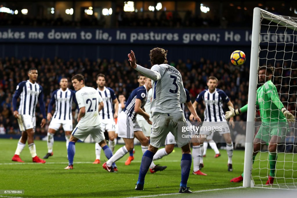 Marcos Alonso of Chelsea scores his side's third goal during the Premier League match between West Bromwich Albion and Chelsea at The Hawthorns on November 18, 2017 in West Bromwich, England.