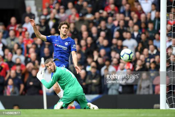 Marcos Alonso of Chelsea scores his team's first goal past David De Gea of Manchester United during the Premier League match between Manchester...