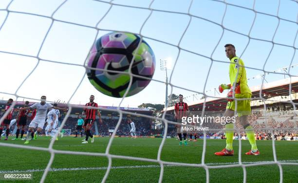 Marcos Alonso of Chelsea scores his team's third goal during the Premier League match between AFC Bournemouth and Chelsea at Vitality Stadium on...