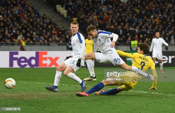Marcos Alonso of Chelsea scores his team's third goal during the UEFA Europa League Round of 16 Second Leg match between Dynamo Kyiv and Chelsea at...