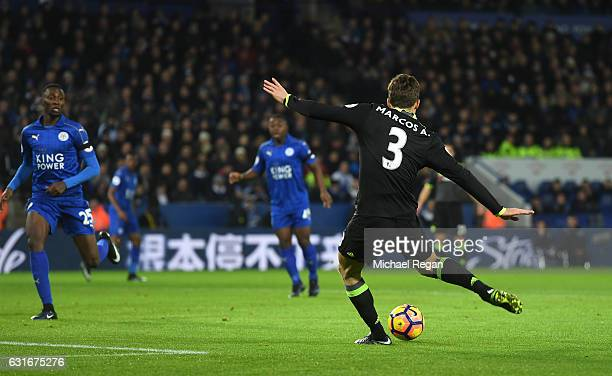 Marcos Alonso of Chelsea scores the opening goal during the Premier League match between Leicester City and Chelsea at The King Power Stadium on...