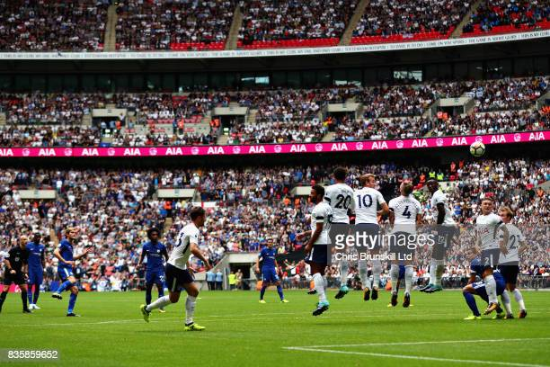 Marcos Alonso of Chelsea scores the opening goal during the Premier League match between Tottenham Hotspur and Chelsea at Wembley Stadium on August...