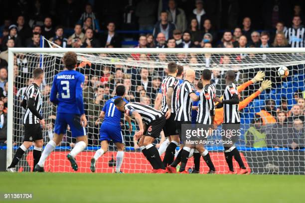Marcos Alonso of Chelsea scores their 3rd goal from a free kick during the FA Cup 4th Round match between Chelsea and Newcastle United at Stamford...