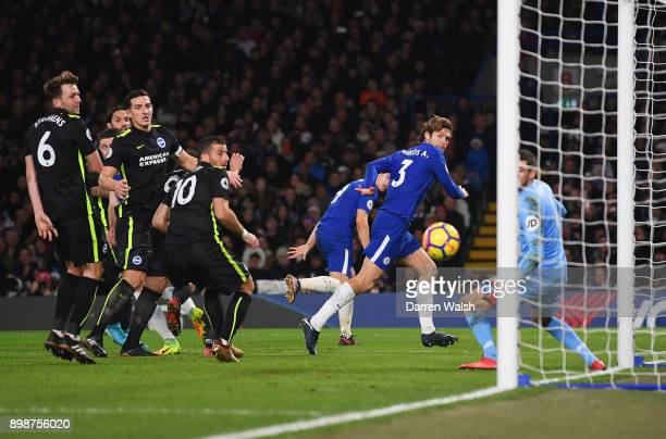 Marcos Alonso of Chelsea scores their second goal past Mathew Ryan of Brighton and Hove Albion during the Premier League match between Chelsea and...