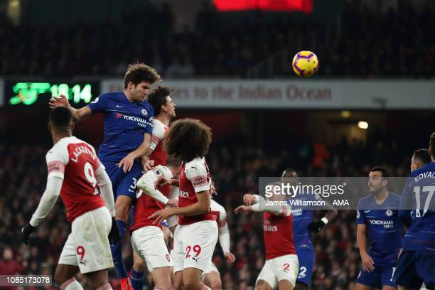 Marcos Alonso of Chelsea sends a header against the post during the Premier League match between Arsenal FC and Chelsea FC at Emirates Stadium on...