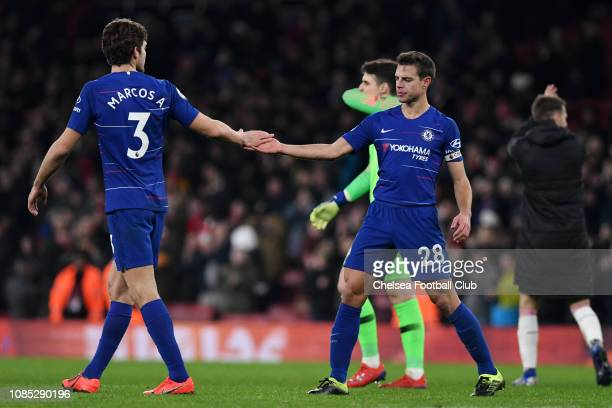 Marcos Alonso of Chelsea shakes hands with Cesar Azpilicueta of Chelsea after the Premier League match between Arsenal FC and Chelsea FC at Emirates...