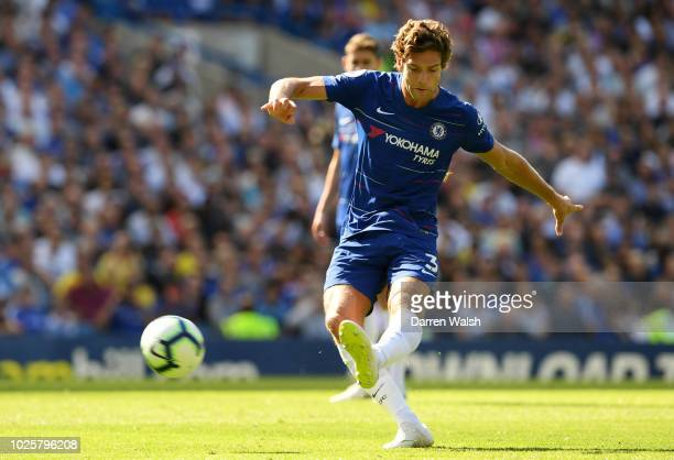 Marcos Alonso of Chelsea shoots during the Premier League match between Chelsea FC and AFC Bournemouth at Stamford Bridge on September 1 2018 in...