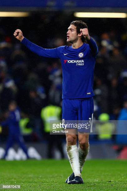 Marcos Alonso of Chelsea shows appreciation to the fans after the Premier League match between Chelsea and Southampton at Stamford Bridge on December...