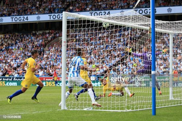 Marcos Alonso of Chelsea strikes a spectacular effort against the bar during the Premier League match between Huddersfield Town and Chelsea at the...