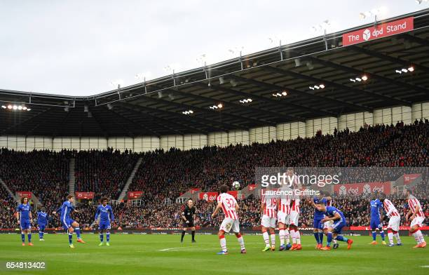 Marcos Alonso of Chelsea takes a freekick during the Premier League match between Stoke City and Chelsea at Bet365 Stadium on March 18 2017 in Stoke...