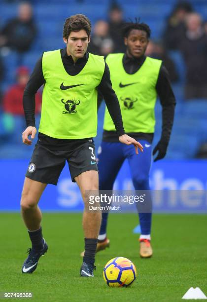 Marcos Alonso of Chelsea warms up prior to the Premier League match between Brighton and Hove Albion and Chelsea at Amex Stadium on January 20 2018...