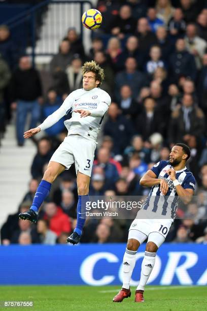 Marcos Alonso of Chelsea wins the header above Matt Phillips of West Bromwich Albion during the Premier League match between West Bromwich Albion and...