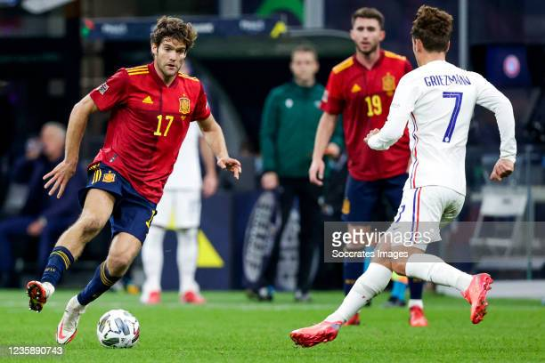Marcos Alonso of Spain, Antoine Griezmann of France during the UEFA Nations league match between Spain v France at the San Siro on October 10, 2021...