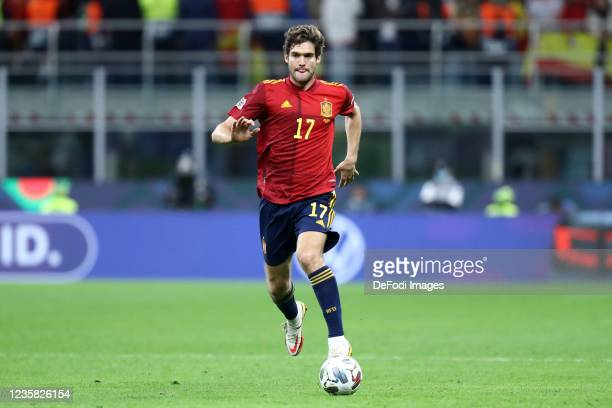 Marcos Alonso of Spain controls the ball during the UEFA Nations League Final match between the Spain and France at San Siro Stadium on October 10,...