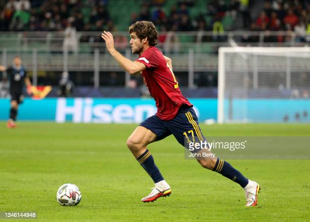 Marcos Alonso of Spain during the UEFA Nations League 2021 Final match between Spain and France at Stadio San Siro stadium aka Stadio Giuseppe Meazza...