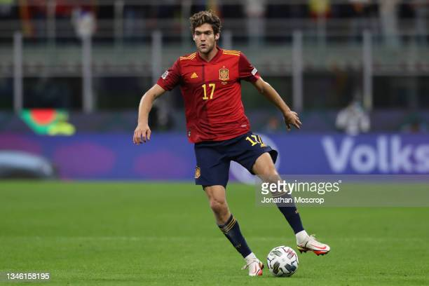Marcos Alonso of Spain during the UEFA Nations League 2021 Final match between Spain and France at San Siro Stadium on October 10, 2021 in Milan,...