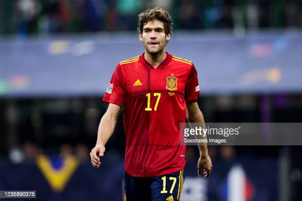 Marcos Alonso of Spain during the UEFA Nations league match between Spain v France at the San Siro on October 10, 2021 in Milan Italy